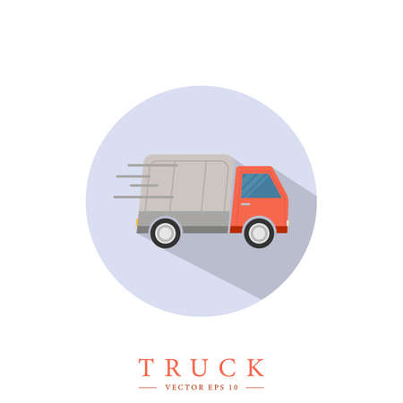 Delivery truck. Colorful fast delivery concept. Isolated vector logo illustration.
