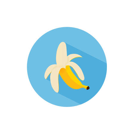 Cartoon style peeled banana. Flat design with long shadow. Vegetarian diet. Isolated vector illustration.