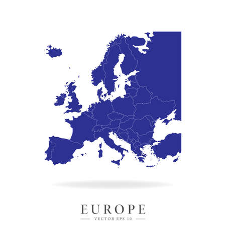 Detailed map of Europe. Countries geographical borders and europe. Vector illustration isolated on a white background.  イラスト・ベクター素材