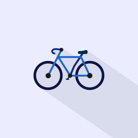 Bicycle symbol. Flat design with long shadow. Vector isolated
