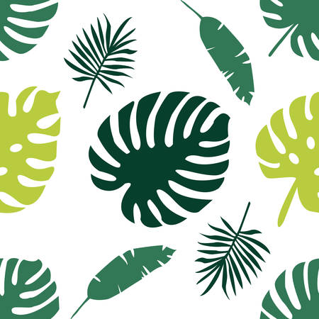 Tropical leaves seamless pattern. Vector design  イラスト・ベクター素材
