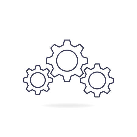Gear line icon symbol. Vector illustration isolated on white background.