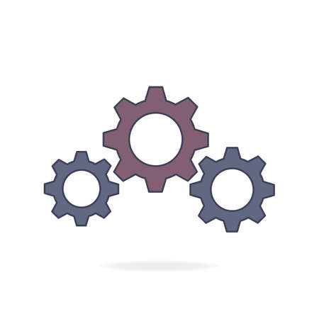 Gear symbol. Vector illustration isolated on a white background. Vetores