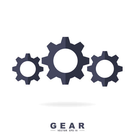 Gear symbol. Vector illustration isolated on white background.  イラスト・ベクター素材