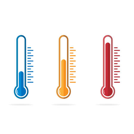 Thermometer symbol in different colors and levels. Temperature icon set in flat style. Isolated vector illustration.  イラスト・ベクター素材