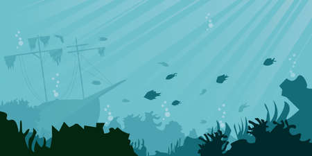 Sea underwater background. Cartoon style. Vector illustration. sunken ship, underwater plants, corals and fishes. Panoramic seascape.