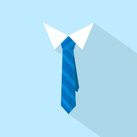 Tie symbol. Vector drawn on blue background with long shadow.  イラスト・ベクター素材