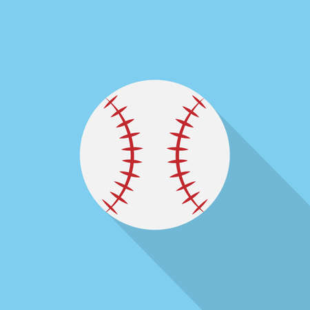 Baseball ball symbol. Vector  drawn on blue background with long shadow.