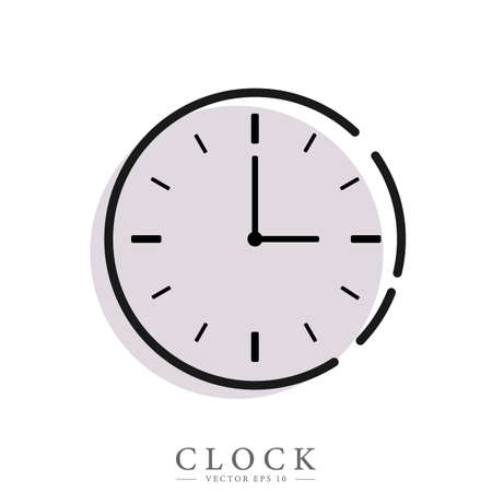 Clock flat icon. Time concept. Editable element , template web and print, deadline concept.  イラスト・ベクター素材