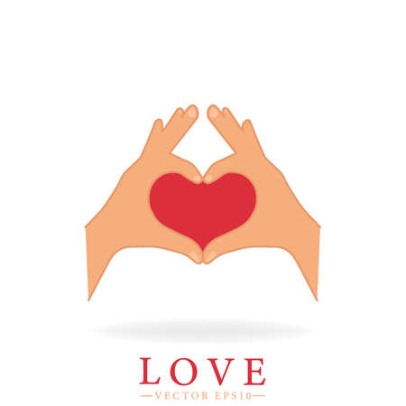 Valentine's day concept. Heart shape. Gesture created by hands. Sign indicating love. Isolated vector illustration.  イラスト・ベクター素材