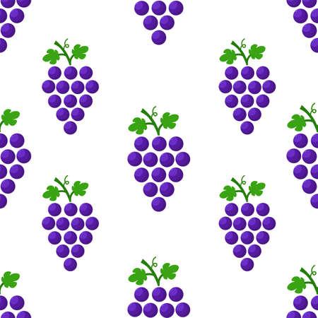 Purple grape seamless pattern. Vegetarian diet. Vector design.  イラスト・ベクター素材