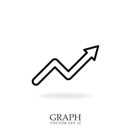 Info graphic line icon. Growing chart symbol. Isolated vector illustration.