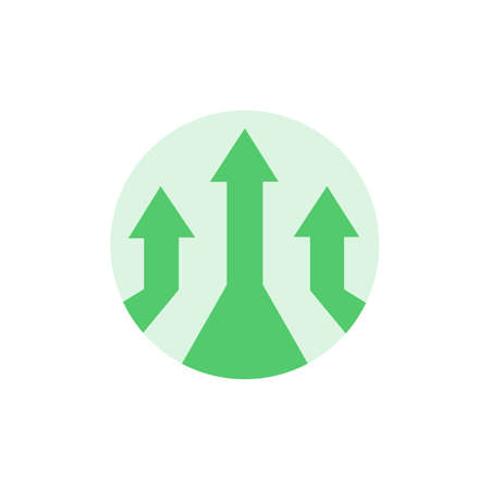 Perspective arrows up diagram. Arrow pointing up in circle. Business success concept. Isolated vector.  イラスト・ベクター素材