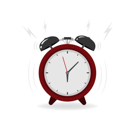 Colorful ringing alarm clock in flat style. Isolated vector illustration.