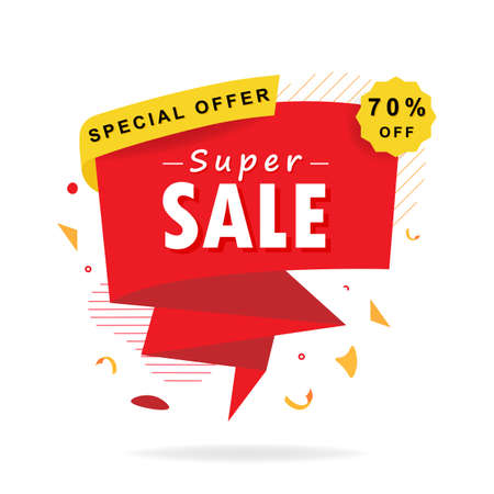 Super sale banner. Special offer 70 percent discount. Marketing background. Isolated vector illustration.