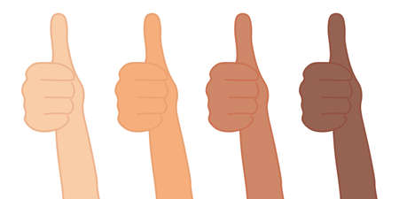 Thumb up. Positive feedback concept. Many ethnic groups. Isolated vector illustration.