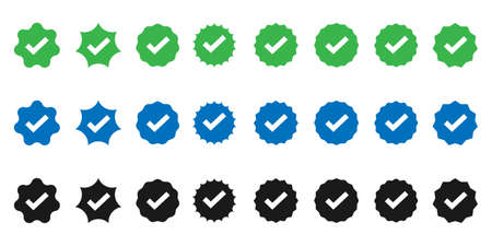 Approved icon collection. Profile verification and verification badge. Isolated vector set icon.