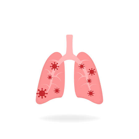 Infected lungs. Microscopic viruses infected by the lungs flat design. Coronavirus concept. Isolated vector illustration.
