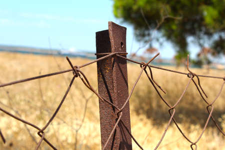 Rusty iron wires. Wires that mean no entry. 写真素材