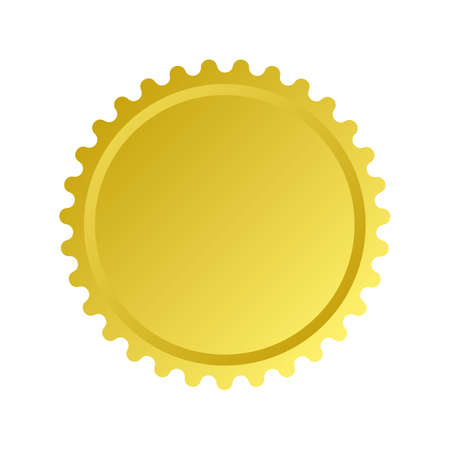 Gold color badge and seal. Isolated vector logo design  イラスト・ベクター素材