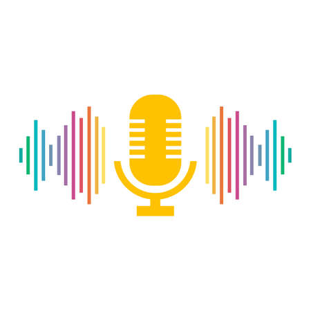 Microphone and sound wave. Podcast symbol. Intelligent assistant. Isolated vector logo illustration.  イラスト・ベクター素材