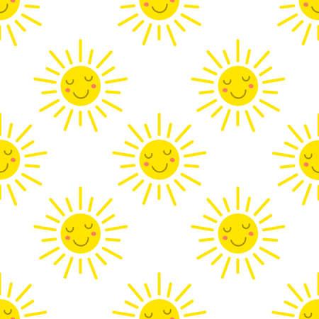 Sun emoji seamless pattern. Cute cartoon style pattern background. vector illustration.