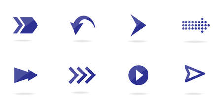 Arrow icons. Bright and shadowy arrow collection. Isolated vector illustration.