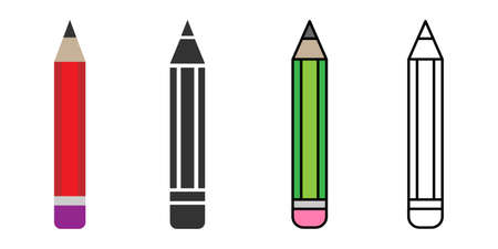 Pencil icon. School pencil in flat, line and colorful styles. Different style icons set. Isolated Symbol  イラスト・ベクター素材