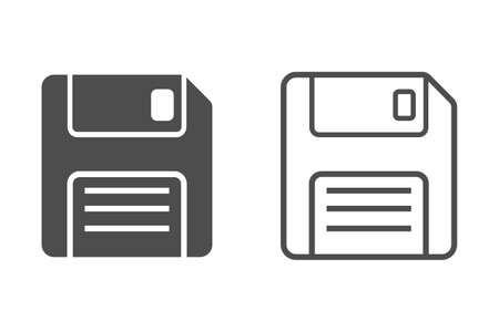 Floppy disk flat and line icons. Isolated vector  illustration.  イラスト・ベクター素材