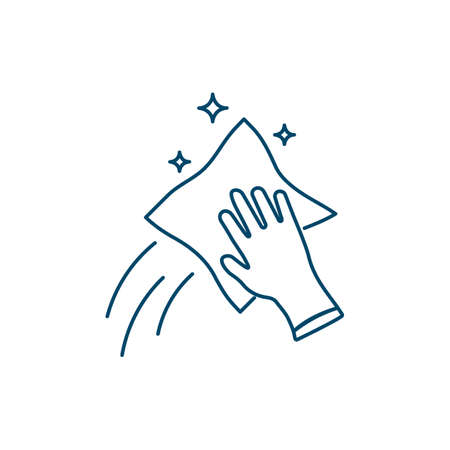 Cleaning line icon. Disinfected surface. Isolated vector illustration.  イラスト・ベクター素材