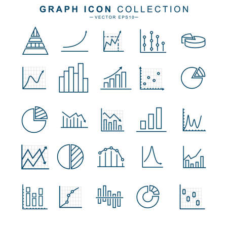 Graph line set icon. Charts and diagram collection. Isolated editable vector illustration.