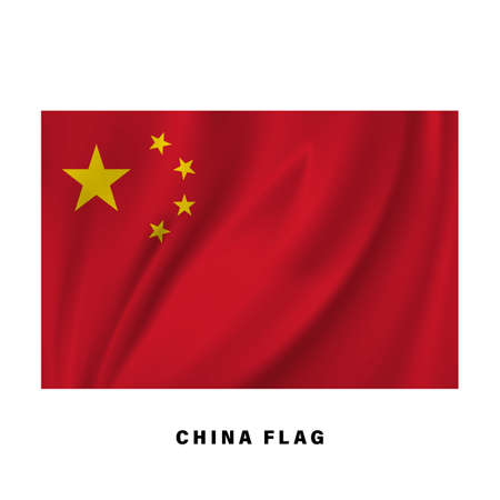 Waving Chinese flag. Realistic national flag vector design. isolated.