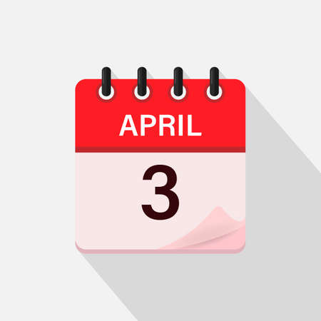 April 3, Calendar icon with shadow. Day, month. Flat vector illustration.