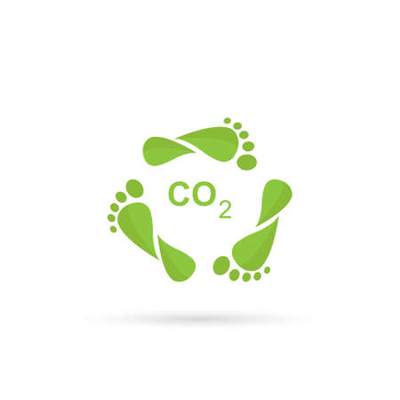 Carbon Footprint C02. Leaves style footprint. Vector isolated on white background.