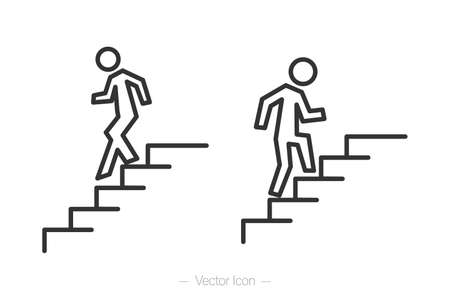 Human walking up the stairs. Human walking down the stairs. vector isolated icon