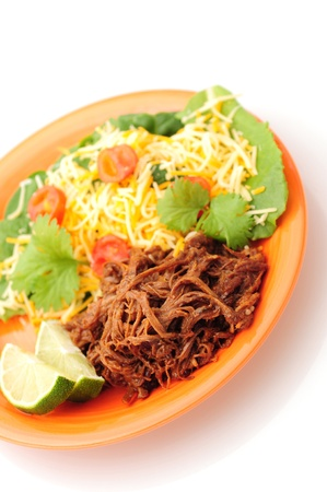 vieja: A healthy dinner with shredded beef and a salad Stock Photo