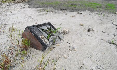 stemming: An abandoned television with new plant growth stemming from garbage
