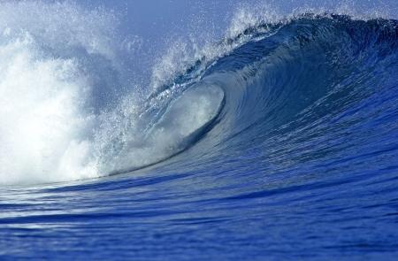 Tropical wave barrel in the ocean in Fiji                                Stock Photo