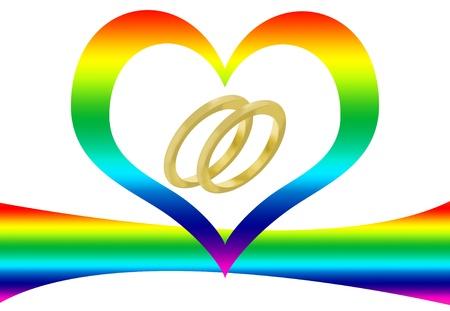Dos anillos de boda, un arco iris y un coraz�n para representar el matrimonio gay Foto de archivo