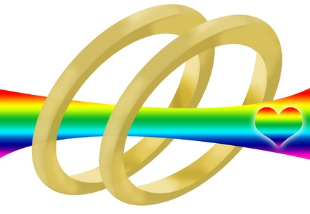 gay marriage: Two wedding rings, a rainbow and a heart to represent gay marriage Stock Photo