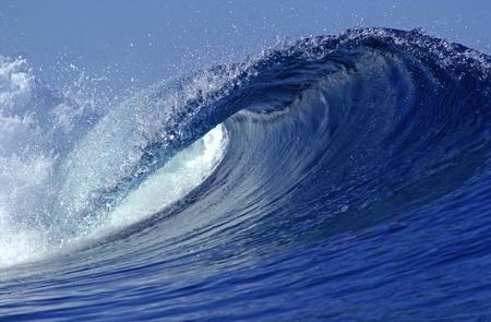 Een blik vanuit de loop van een oceaan golf Stockfoto