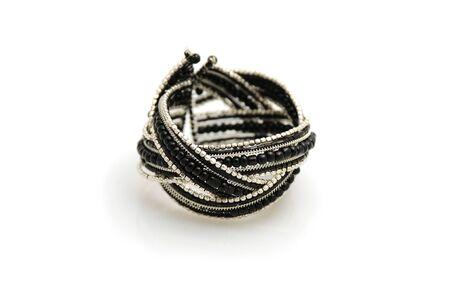 Black and silver trendy bracelet on white background