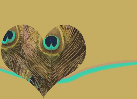 Heart background with textured heart filled with peacock feathers