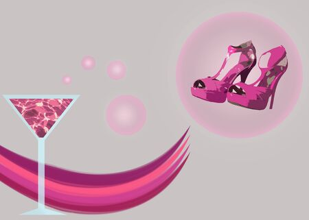 girls night out: A pair of pink stiletto shoes and a pink martini representing a girls night out