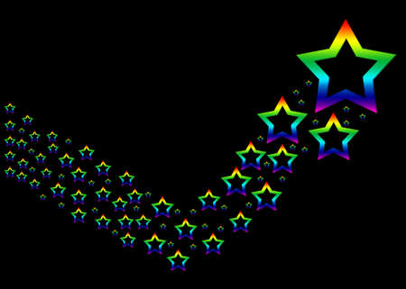 Many colorful rainbow stars on a black background