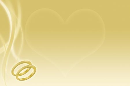 Trouwringen en hart op abstracte gouden achtergrond voor het huwelijk Stockfoto