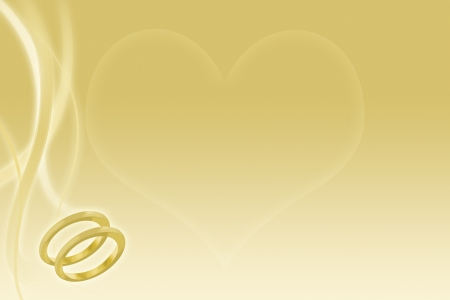 Wedding rings and heart on abstract gold background for marriage