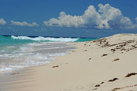 Untouched beach with waves and blue water in the Bahamas