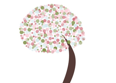 Abstract tree with pastel circles with retro feel