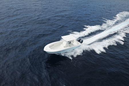 Sport fisihng boat in Atlantic Ocean off the coast of Florida